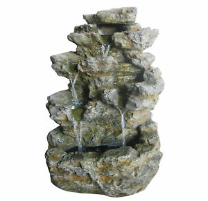 Charles Bentley Large Stone Effect Outdoor Water Feature Fountain White LEDs