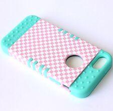 For iPhone SE 5S HARD&SOFT RUBBER HYBRID SKIN CASE MINT BLUE PINK PLAID CHECKER