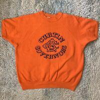 Velva Sheen Vintage XL Orange Short Sleeve Sweatshirt Lettered 60s 70s Raglan