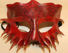 Cinabrio Serpiente Dragon Máscara De Cuero Hecha a Mano Veneciana Mascarada Rojo/Oro
