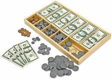 Classic Play Money Set 300 Paper Bills 250 Plastic Coins Wooden Cash Drawer Box
