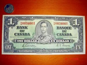 CANADA, 1937 One Dollar, George VI, Second Issue, Almost EF Condition