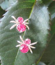 Ohrstecker Silber Spinne Insekt Krabbeltier Kristall rosa