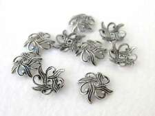 Antiqued Silver Ox Filigree Nouveau Flower Bead Cap Plated Brass 10mm