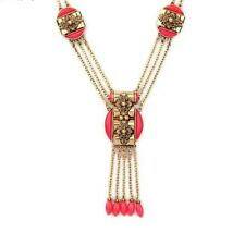 Pretty Women's Pendant Red Intricate Gold Toned Necklace w/ Anthropologie Flair