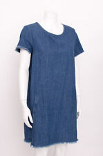 ZARA Blue Fringe Hem Tent Coutoure Basic Denim Tunic Short Sleeve Mini Dress L