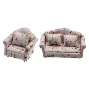 2er Set im Maßstab 1:12 Mini Holz Sofa Sessel Puppenhaus Miniaturen Möbel
