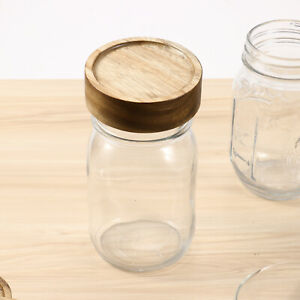 4Pcs Wooden Mason Jars Sealed Jars Lids Bamboo Round Wide Mouth Lids Cover Home