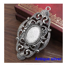 Antique silver  oval  vintage cabochon  cameo pendant setting  fits 18x25mm