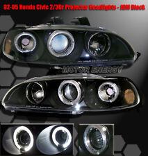 92-95 HONDA CIVIC 2/3DR HALO PROJECTOR HEADLIGHTS LAMPS JDM BLACK CX DX EX SI VX