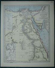 1883 LETTS MAP ~ EGYPT BAHARI PORT SAID NUBIA ALEXANDRIA DELTA