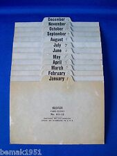 """Smead Pressboard Card Guides No. 611-12 Months Dividers 6"""" x 4"""" Vintage Used"""