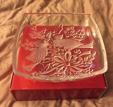 "Gorham Holiday Traditions - 8"" Crystal Glass Bowl - Christmas Cardinals - w/box"