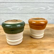 Vintage French Country pottery Ivory Green Yellow Planter set