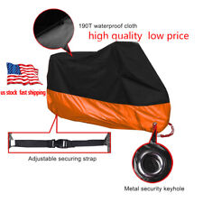 Motorcycle Cover Black Orange XXL Waterproof Bike Outdoor Rain Dust UV Protector