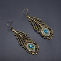 Vintage Glitzy Women Rhinestone Peacock Eye Feather Dangle Hook Earrings Gift