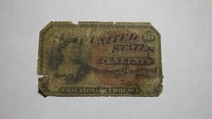 1863 $.10 Fourth Issue Fractional Currency Obsolete Bank Note Bill! 4th Edition