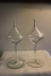 Set of 2 Vintage Princess House Heritage Oil Lamps Clear Crystal Pedestal