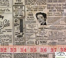 RPFMO33 Retro Newspaper Script Print Sale 50s Advertising Cotton Quilt Fabric