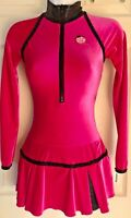GK FIGURE SKATE DRESS ADULT X-SMALL LgS PINK VELVET ZIP TURTLENECK FOIL TRIM AXS