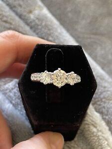 QVC Diamonique Sterling Silver 3 Stone Ring Size 7