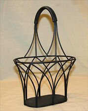 """Wrought Iron Metal Basket Planter Centerpiece Black Thick Wrapped Handle 11"""""""