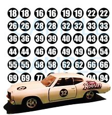 1:64 RACING NUMBERS  WATER-SLIDE DECALS FOR HOT WHEELS, MATCHBOX, SLOT CAR: