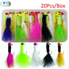20pcs/box Crappie Jigs Lead Head Hook Fishing Jig With Feather Bass Pike Walleye