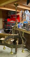 """INCREDIBLE Antique 29"""" Hammered Arts And Crafts Chandelier- 6 Bulb And Chain!!"""