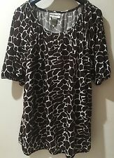 Millers Size 16 Plus Size Brown White Stretchy Top Blouse Animal Print Cuff Det.