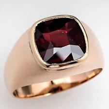 Natural Garnet Gemstone 14k Yellow Gold Men's Ring #2427