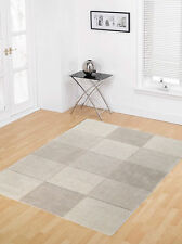 Flair Rugs Wool Squares Design Floor Rug 75cm X 150cm Beige