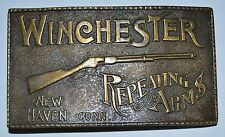 Vintage WINCHESTER Repeating Arms Rifles Guns Solid Brass Belt Buckle MINTY RARE