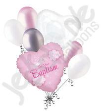 7 pc Baby Girl Dove Baptism Gift Balloon Bouquet Religious Ceremony Celebration