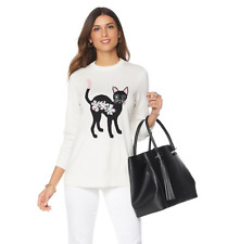 """DG2 by Diane Gilman """"Mr. Fuzzy"""" Embellished Sweater in Ivory, S"""
