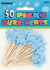 BLUE COLOR FRILLED PICKS PACK OF 50  BABY SHOWER BOY PARTY SUPPLIES