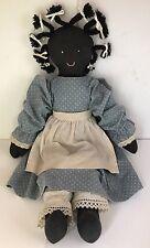 "Black-Rag-Doll-Ethnic-Americana-Woman-Cloth-Hand-Sewn-18""-Vintage"