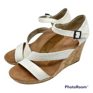 Toms Women's 10 Clarissa Wedge Heel Sandal Natural Linen & Cork Ankle Strap