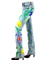 Dolce and Gabbana D&G floral embroidered stretch slimmy dress jeans 28 UK10EU36