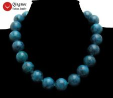 """Natural 18mm Round Green Chrysocolla Chokers Necklace for Women Jewelry 17"""" 5316"""