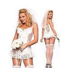 3 PIECE LINGERIE BRIDAL SET White - Underwear Veil Ladies BabyDoll Dress #ST15