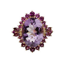11 cts Natural Purple Amethyst oval cut & Pink Tourmaline14K Yellow Gold Ring