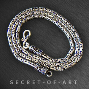 """Byzantine necklace king chain Mens 925 Silver 3mm 3 mm length 18 20 24 26 28"""""""