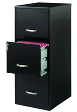 3 Drawer Filing Cabinets For Home Office with Lock, Letter Size Black Unit Retro
