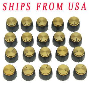 20pcs Guitar Amplifier-Knobs-Black-w-Gold-Cap-Push-on-fits-Marshall-Amplifier