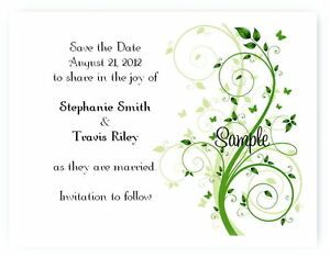 100 Personalized Custom Green Butterfly Wedding Bridal Save The Date Cards