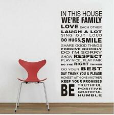 Family House Rules WALL STICKERS REMOVABLE HOME DECAL Art Vinyl DECOR Au Stock