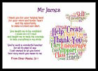 Thank You Teacher Gift Word Art personalised Head Childminder Assistant Gifts