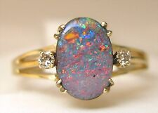 Ladies 14k yellow gold Australian cabochon boulder opal and diamond ring