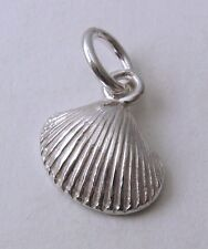 GENUINE SOLID 925 STERLING SILVER 3D SEA SHELL OCEAN Charm/Pendant